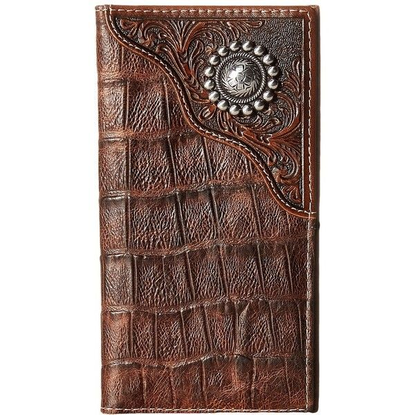 Ariat Floral Embossed Rodeo Wallet (Brown) Bi-fold Wallet ($45) ❤ liked on Polyvore featuring men's fashion, men's bags, men's wallets, mens leather bifold wallet, mens crocodile wallet, mens leather wallets and mens brown leather wallet