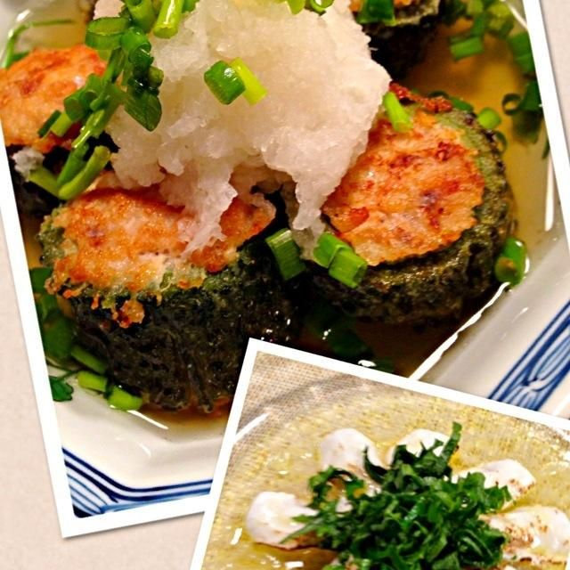ゴーヤーの詰め物は前にベトナム料理作ったが、こちらは和食。苦味もあまり気にならないよ。油で揚げ焼きのように。暑いから夏バテしないように - 122件のもぐもぐ - 肉詰めゴーヤーの揚げ出し風ヒラメの炙りカルパッチョ by Koro2