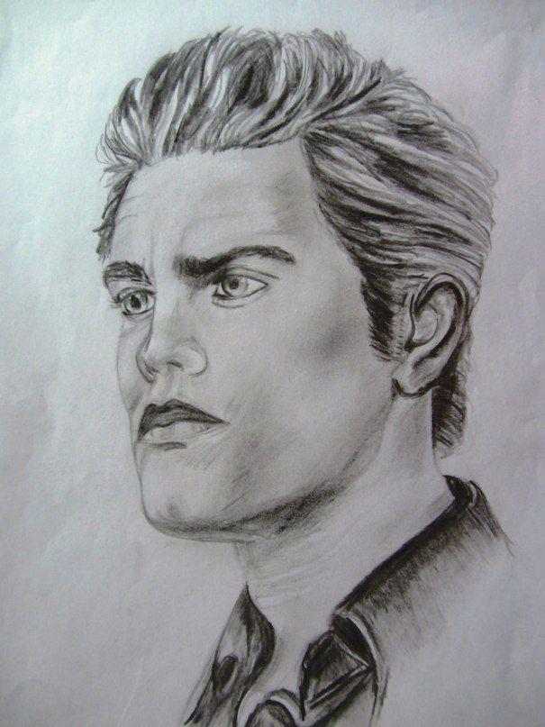 Рисунки карандашом, люди, парень, черно белый, графика, портрет Пол Уэсли ( Стефан Сальваторе ).