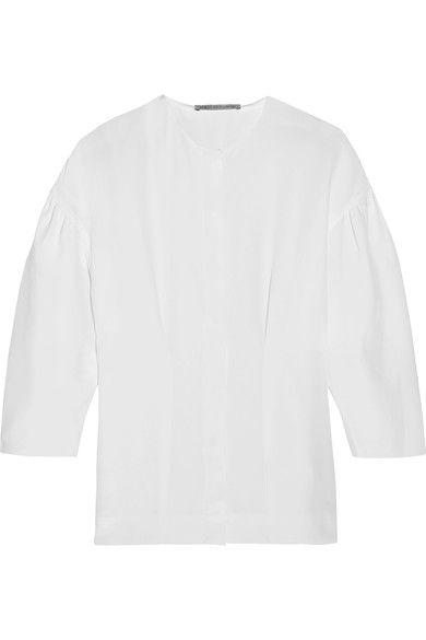 Emilia Wickstead - Vanessa Pleated Silk-crepe Shirt - White - UK