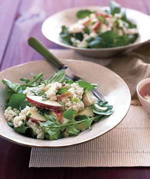 17 Healthy Salad Recipes Featuring Barley: Creamy Barley Salad with Apples, Dijon Mustard, Celery Stalks, Fresh Mint, Arugula