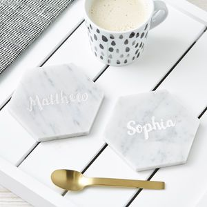 Personalised Hexagonal Marble Coaster - home accessories