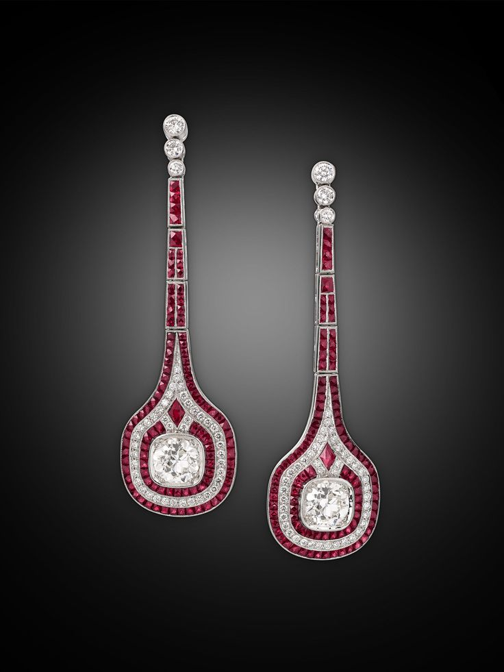 Estate Jewelry, Colored Gemstones, Ruby and Diamond Earrings ~ M.S. Rau Antiques