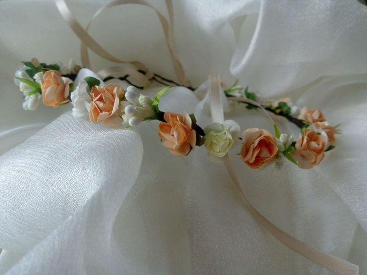 Маленькие персиковые розочки / Ободок нежные цветы, Венок для волос персиковый, Выпускное украшение для волос