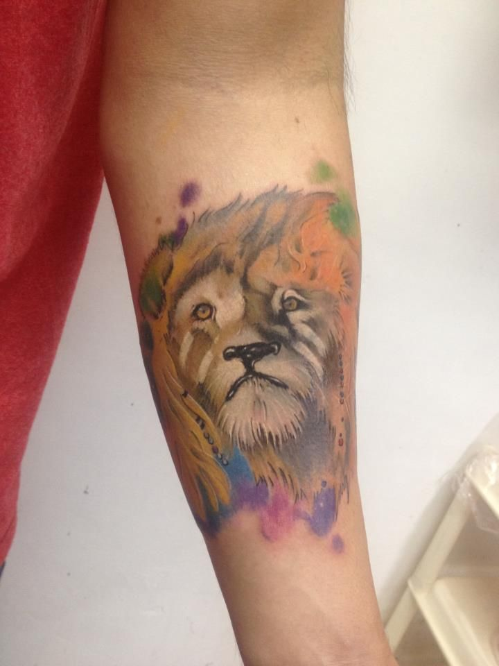 Lion, leon, shaman, cosmos Corvux Tattoo Diana Velasquez Medellin Colombia