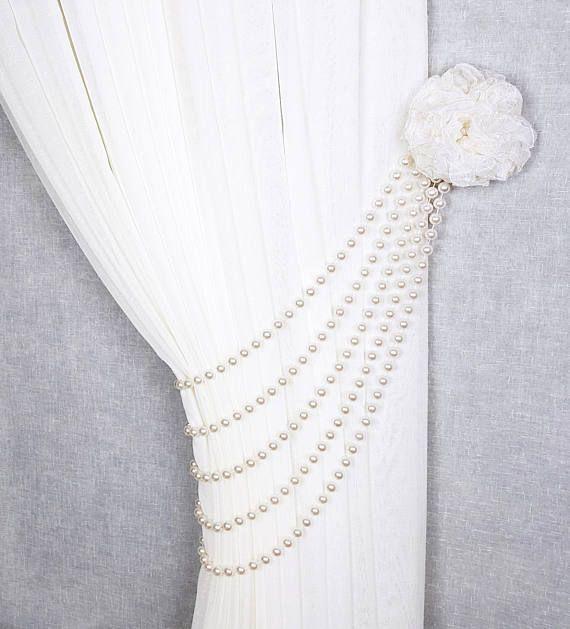 Beaded Tiebacks Flower Tie Back Curtain Tie Back Curtain Decor