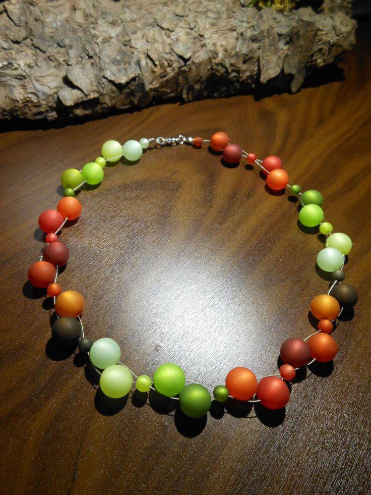 Neu unikat braun grün Polariskette bunt Halskette Collier Polarisperlen kette in Uhren & Schmuck, Modeschmuck, Halsketten & Anhänger | eBay