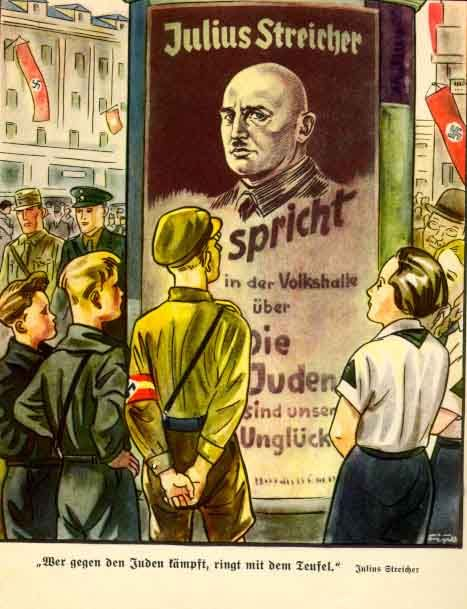 "Nazi propaganda: Der Giftpilz is a children's book published by Julius Streicher in 1938. The title is German for ""the toadstool"" or ""the poisonous mushroom"". -- Without Solving the Jewish Question No Salvation for Mankind"