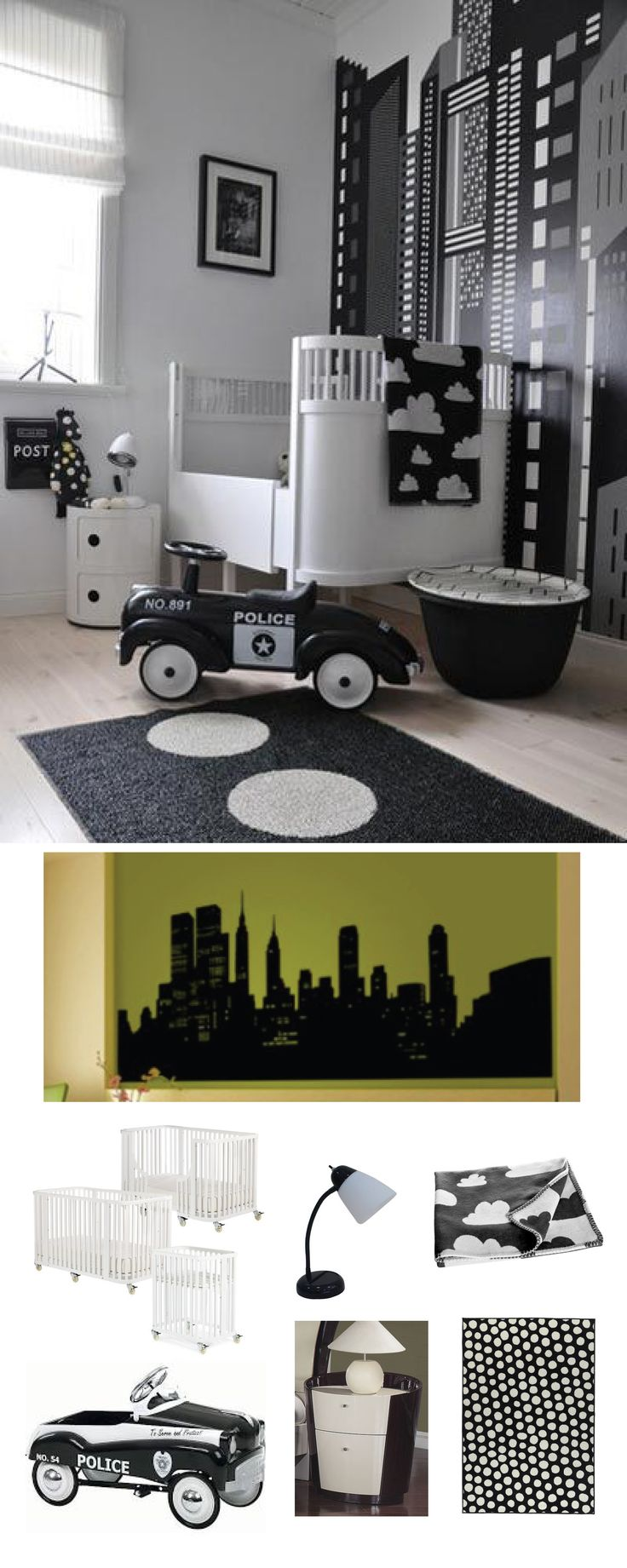 The ideal room for a child obsessed with Batman, this Gotham-like nursery is even equipped with awesome extras (like that retro toy police car!).