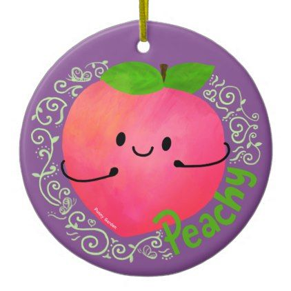 Positive Peach Pun   Peachy Ceramic Ornament