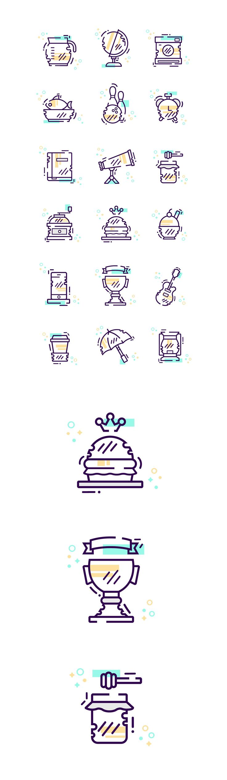 Random icon set on Behance