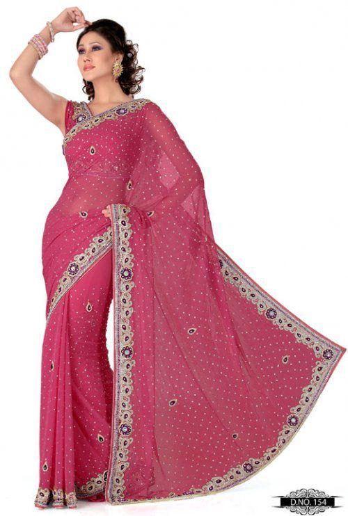 Gajri Pink Color Satin Chhiffon Bridal Saree TYS154. Save: 5% off
