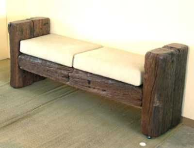 Railway sleepers for a bench. put a back on it to make it a little less contemporary.