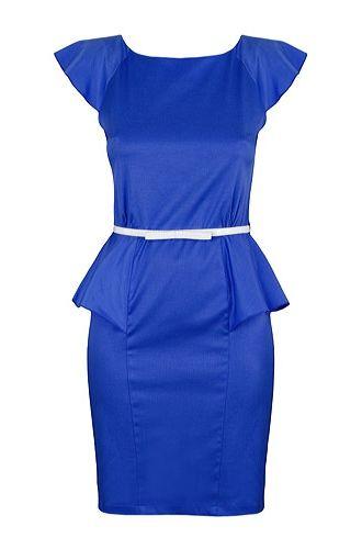 30. Rochie albastra peplum model Daniela  rochie din tercot elastic, - Top 40 de rochii MINUNATE cu volane - Slide 30 din 41. Slideshow pe Kudika