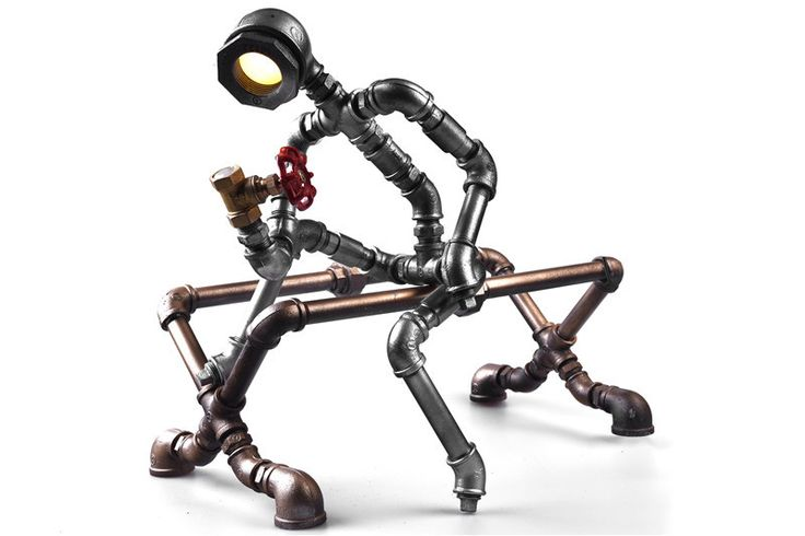 2015 New Style Robot Light Modern Industrial Cast Water Pipe Light Led Desk Lamp Vintage Steampunk Metal Iron Lights Bulb-B009
