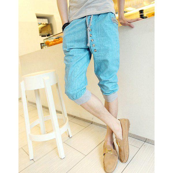 Stylish Lace-Up Button Zipper Design Slimming Beam Feet Men's Cotton+Linen Capri Pants, AZURE, L in Pants | DressLily.com