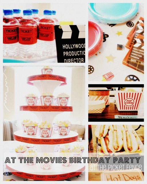Cute movie themed party. Like the tickets used to wrap water bottles.