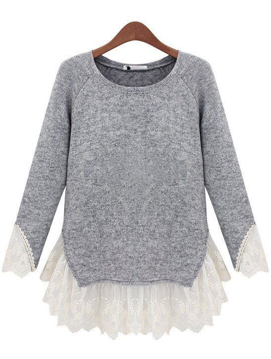 Fall Fashion Grey Long Sleeve Contrast Lace Knit Sweater