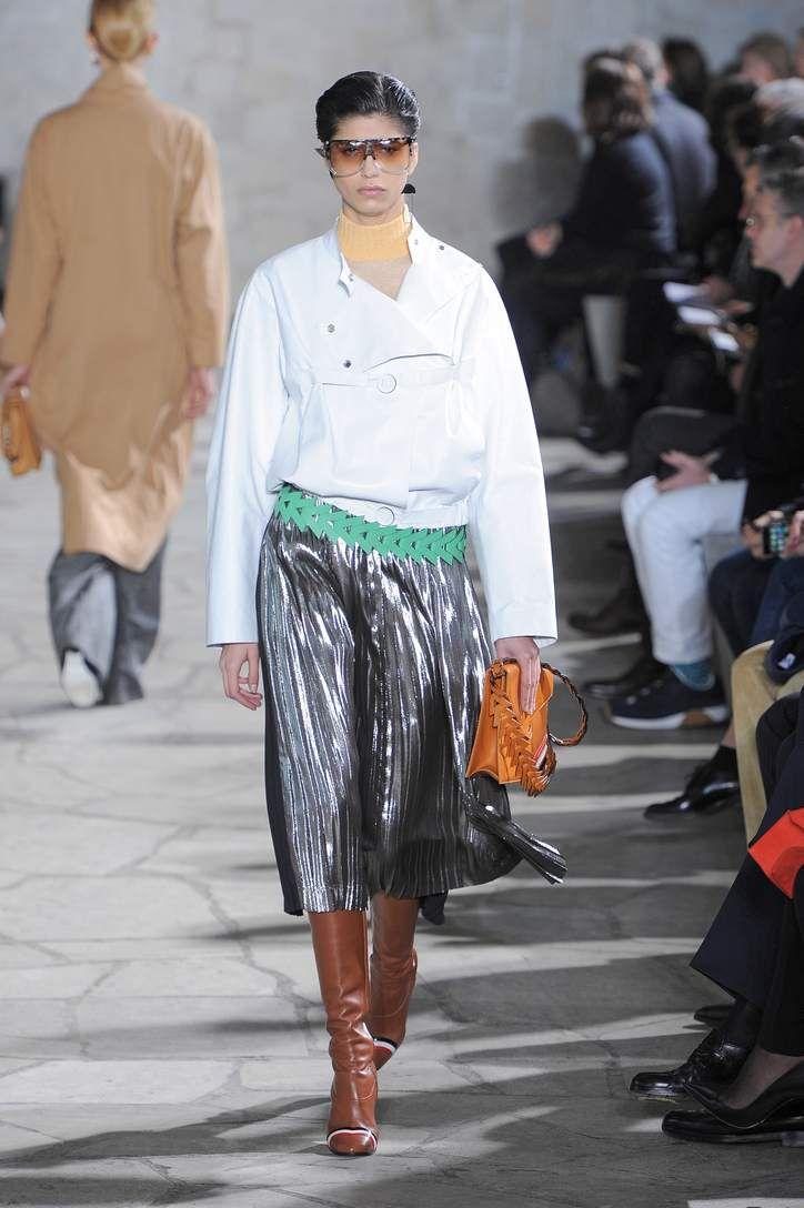 Pleated metallic silver silk-blend skirt