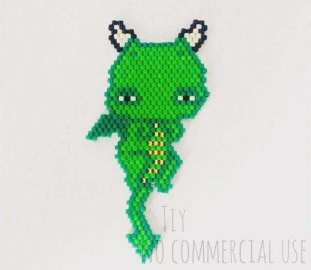 Petit dragon en perles Miyuki #bijouxtiy