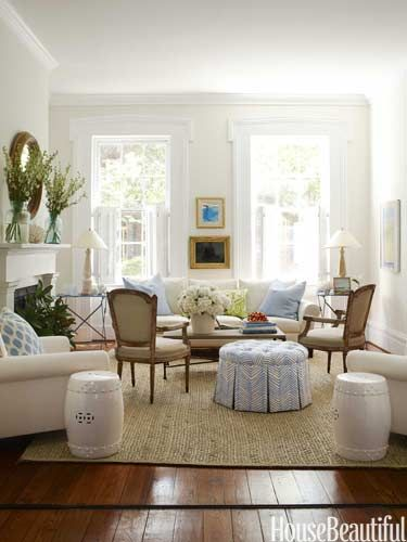 "Simply Southern Living Room    ""No fuss"" was designer Lynn Morgan's mantra when she decorated the living room of this Savannah, Georgia, rowhouse. ""I wanted it simple, clean-lined, and inviting, with a little bit of glamour and a lot of comfort.""  House Beautiful magazine. photo by Christopher Baker"