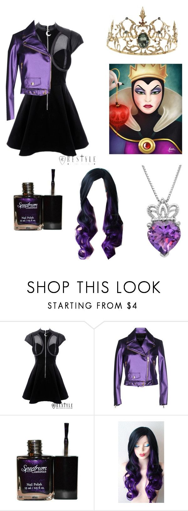 """""""Evil Queen costume"""" by kawaiipusheen00 ❤ liked on Polyvore featuring Boutique Moschino, Amanda Rose Collection, Halloween, look, fashiontrend, contestentry and fashionset"""