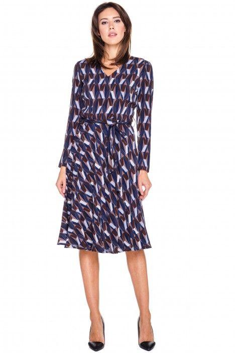 Sukienka w granatowe wzory - Bialcon - Bialcon - Odzież damska Balladine.com - Polska Moda Online