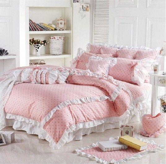 Barato 2016 venda quente 100% algodão rosa 1.2 M / 1.5 M / 1.8 M cama princesa consolador conjunto de cama bedskirt gêmeo / Full / Queen / King / 3019, Compro Qualidade Roupas de cama diretamente de fornecedores da China:     2016 venda quente 100% algodão rosa pontilha 1,2 m/1,5 m/1,8 m cama princesa Consolador cover bedskirt jogo de cama