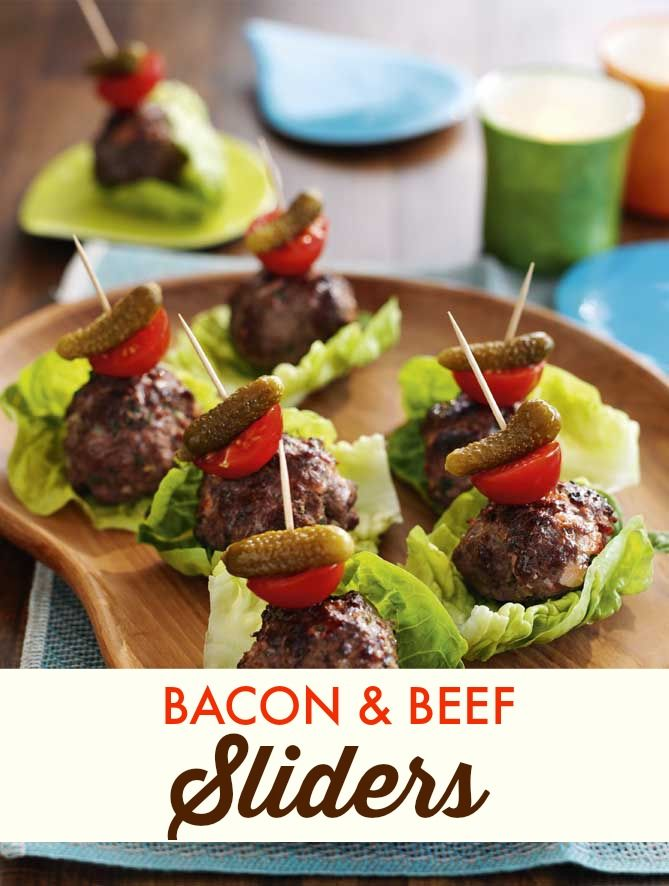 Perfect for summer BBQ parties: Bacon and Beef Sliders #appetizers