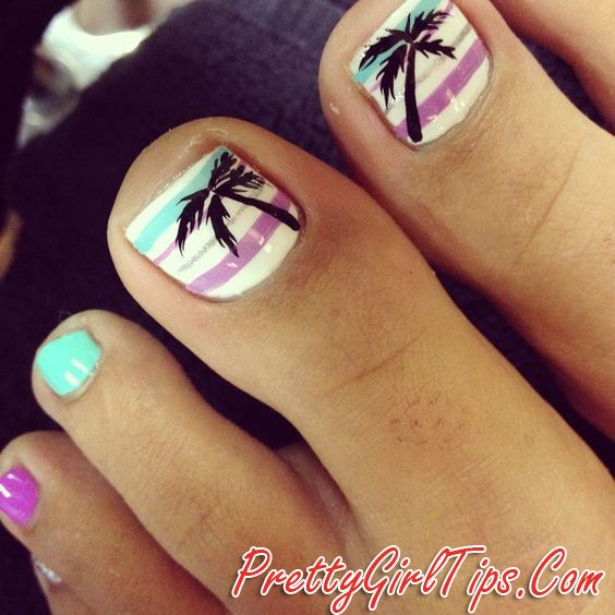 @prettygirltips Beach Toe Nails via