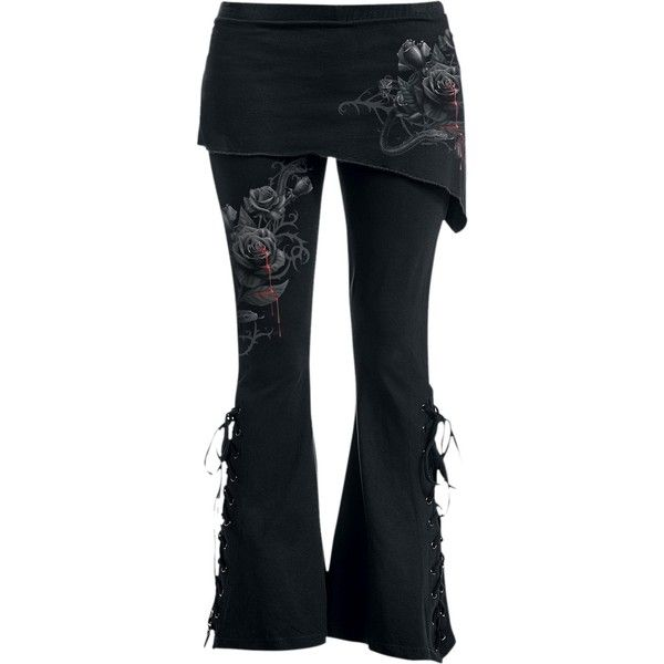 Spiral Womens FATAL ATTRACTION 2in1 Boot-Cut Leggings with Micro Slant... ($40) ❤ liked on Polyvore featuring pants, leggings, bootcut leggings, bootcut pants, bootcut trousers, wide-leg trousers and boot cut leggings