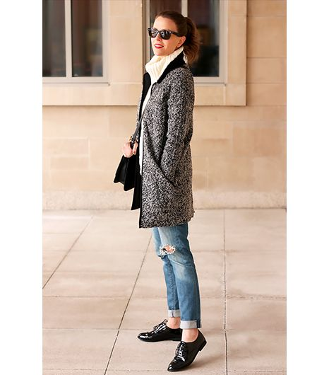 @Who What Wear - Kimberly Smith of Penny Pincher Fashion                 On Smith: Dorothy Perkins Gray Bobble Knit Coat ($95)