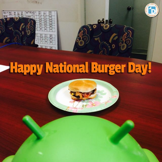 Its #NationalBurgerDay! Here's Andy salivating over his lunch. #whycanteverydaybenationalburgerday