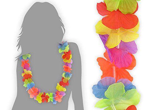 Lot de 12 collier hawaien «HK-01» Hawaïen multicolore textile coloré Hawaï hawaii fleur coloré ambiance tropique déguisement soirée…