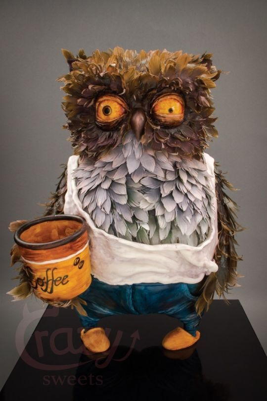 """3D Owl cake """"out of coffee"""""""