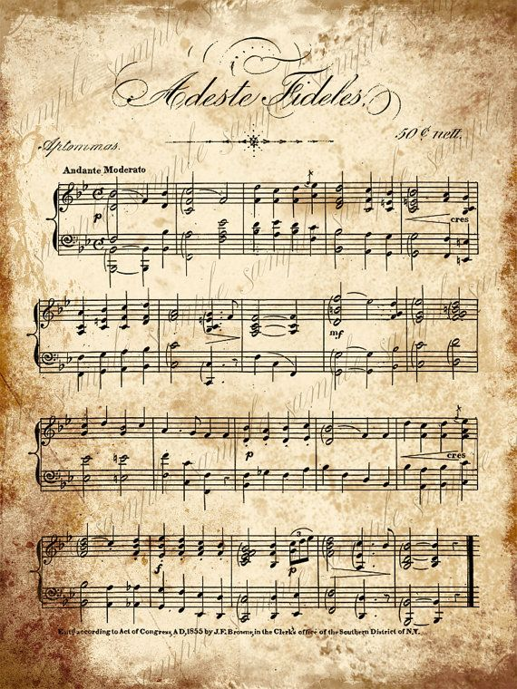 Grungy Aged Vintage Christmas Carol Music - Digital Collage Sheet- INSTANT Printable Download - 5 x 7 - Adeste Fideles and Christmas Carols