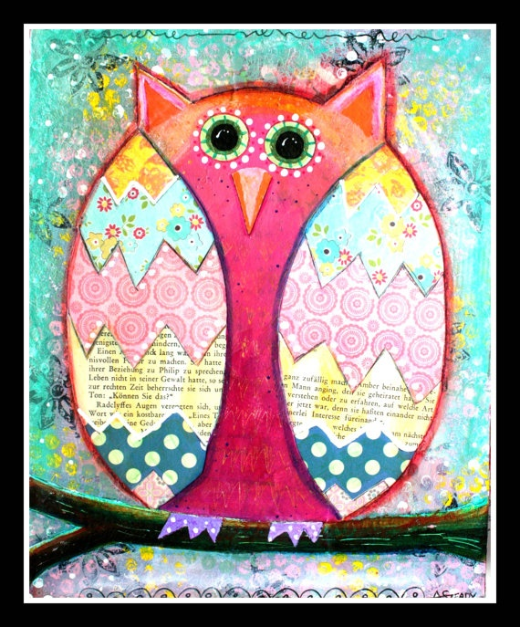 Original Owl Artwork Pink and Blue Shabby Chic by ArtByAlisaSteady, $75.00