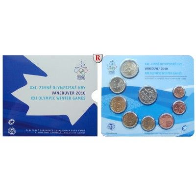 Slowakei, Euro-Kursmünzensatz 2010, st: Euro-Kursmünzensatz 2010. 8 Münzen - 1 Cent bis 2 Euro, inklusive Gedenkmedaille Vancouver… #coins