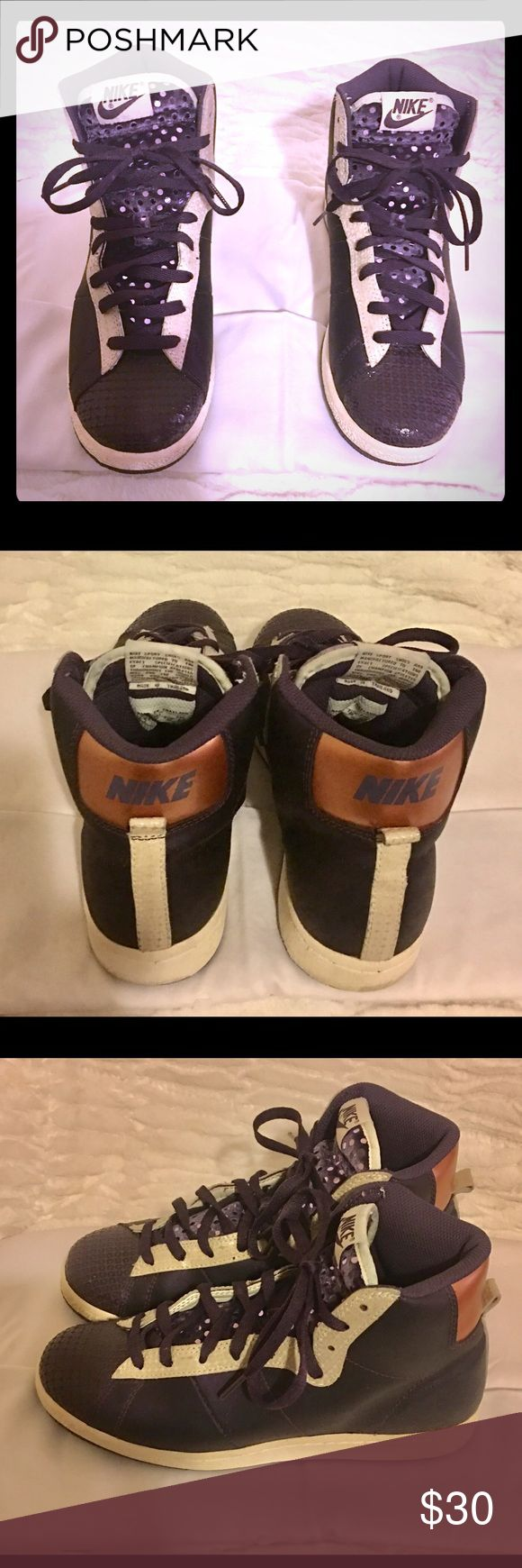 Authentic Mid Top Womens Nike sneakers Great condition, purple and cream color, stylish and comfortable Nike Shoes Athletic Shoes
