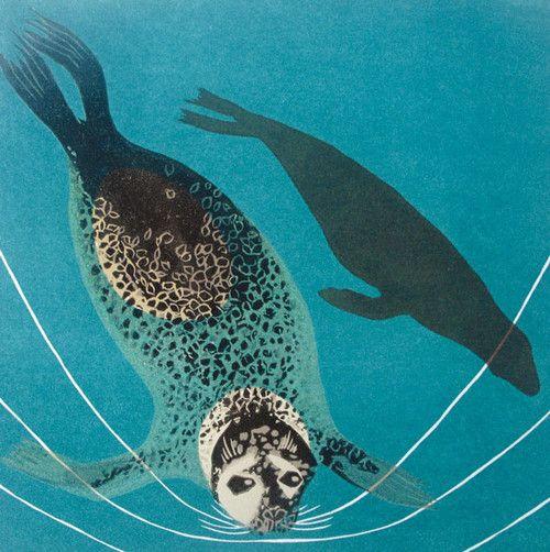 'Seal Play' By Printmaker Carol Lander. Blank Art Cards By Green Pebble. www.greenpebble.co.uk