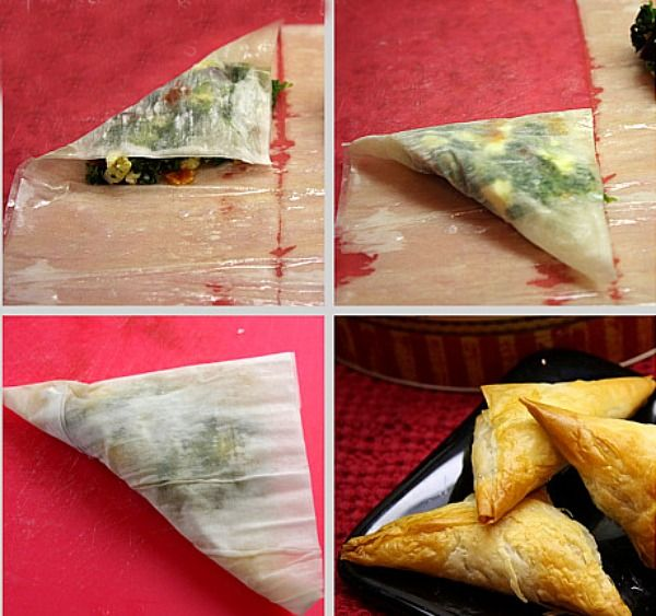 Spinach, Feta and Sun-dried Tomato Phyllo Triangles. [Hey @Rebecca Baisden these would be awesome for my bday! ;)]