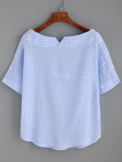 Blue Stripe Boat Neck Blouse With Buttons Mobile Site