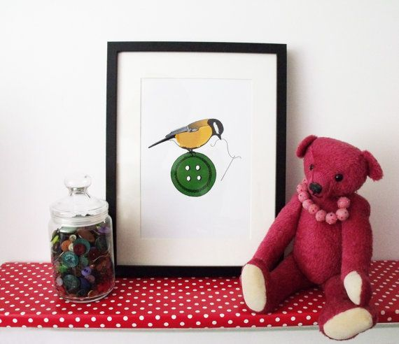 Great Tit and Button signed print giclée buttons by realicoul
