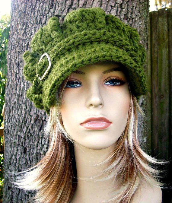 Crochet el sombrero verde sombrero de mujer verde vendedor de
