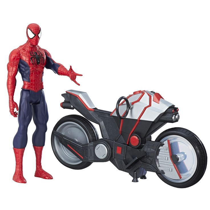 Disney Marvel Spider-Man Titan Hero Series Spider-Man Figure with Spider Cycle, Multi-Color