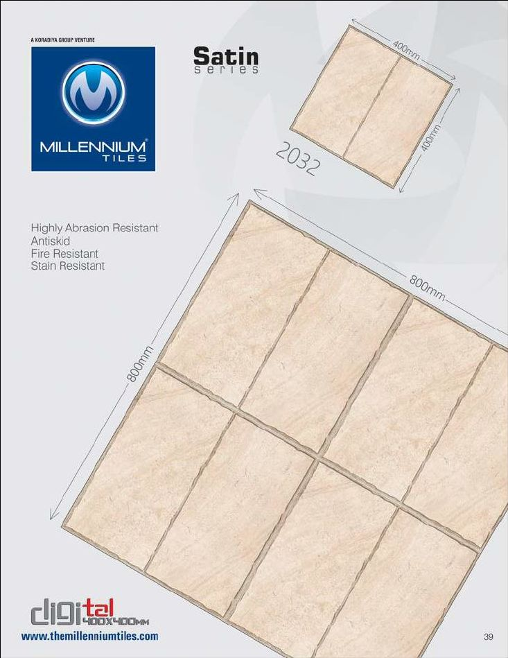 CF Tile Design 2032 - Millennium Tiles 400x400mm (16x16) Digital Ceramic CF Satin #Tiles   - Indoor & Outdoor use  - Highly Abrasion Resistant  - Antiskid  - Fire Resistant  - Stain Resistant - Full body vitrified tiles have pigment in entire body (thickness) of the tile. This makes chips and scratches less noticeable and make this an ideal choice for high traffic zones.  - Easy care: HD Digital tiles resists dirt accumulation and can be cleared up with a damp mop, sponge or common house…