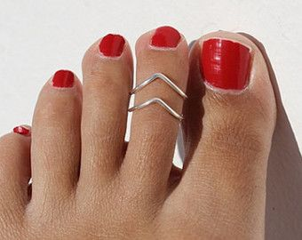 2 Sterling Silver Toe Ring - Toe Ring Set -Chevron Toe Ring - Foot Jewelry - Sterling Silver Toe Ring - Body Jewelry - Silver Toe Ring
