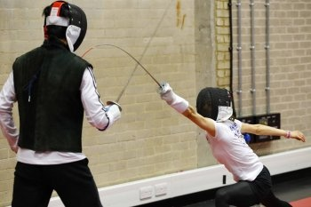 Team Korea Olympic training camp at Brunel University in July 2012 - Fencer Nam Hyeon-Hui lunges during training in the Antonin Artaud arts building. Google Image Result for http://m.donga.com/IMAGE/2012/07/26/47962108.4.jpg