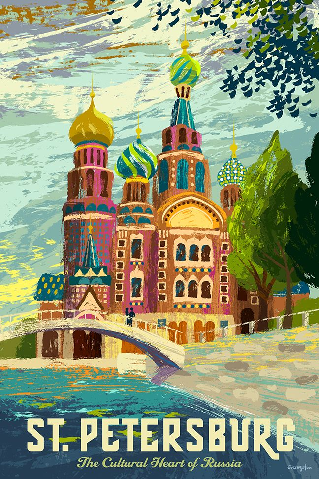 vintage travel posters russia | Saint Petersburg Russia Travel Poster