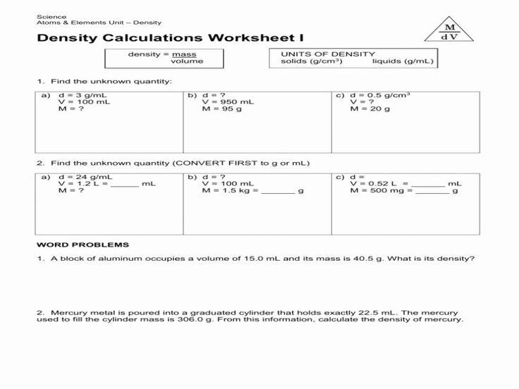 Density Calculations Worksheet 1 Best Of Science 8 Density ...
